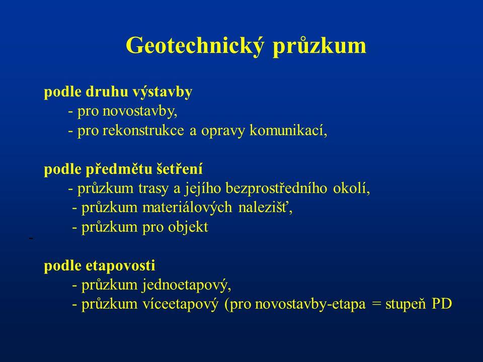 - Geotechnický průzkum podle druhu výstavby - pro novostavby, - pro rekonstrukce a opravy komunikací, podle předmětu šetření - průzkum trasy a jejího