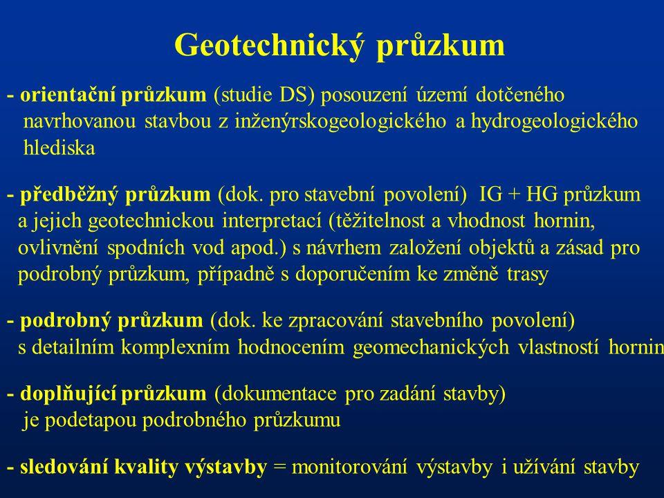 - Geotechnický průzkum - orientační průzkum (studie DS) posouzení území dotčeného navrhovanou stavbou z inženýrskogeologického a hydrogeologického hle