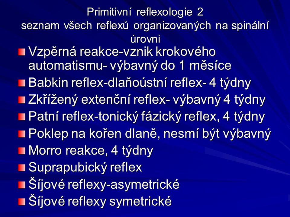 Primitivní reflexologie 2 seznam všech reflexů organizovaných na spinální úrovni Vzpěrná reakce-vznik krokového automatismu- výbavný do 1 měsíce Babkin reflex-dlaňoústní reflex- 4 týdny Zkřížený extenční reflex- výbavný 4 týdny Patní reflex-tonický fázický reflex, 4 týdny Poklep na kořen dlaně, nesmí být výbavný Morro reakce, 4 týdny Suprapubický reflex Šíjové reflexy-asymetrické Šíjové reflexy symetrické