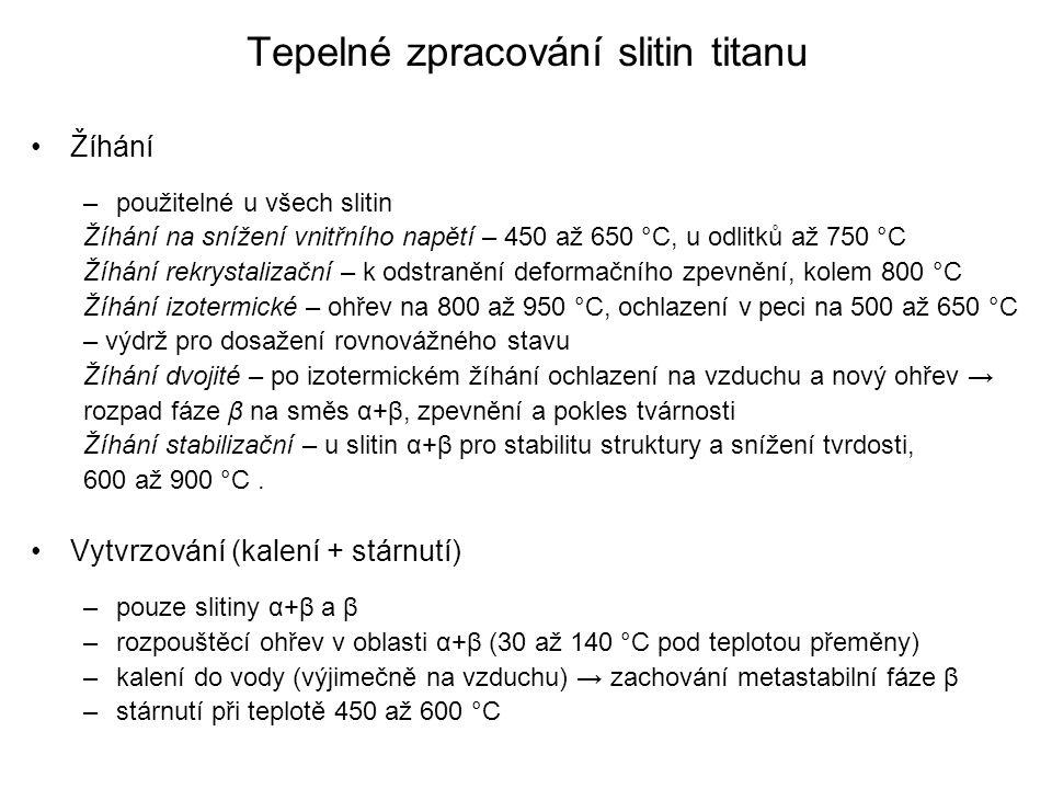 Tepelné zpracování slitin titanu Žíhání –použitelné u všech slitin Žíhání na snížení vnitřního napětí – 450 až 650 °C, u odlitků až 750 °C Žíhání rekr