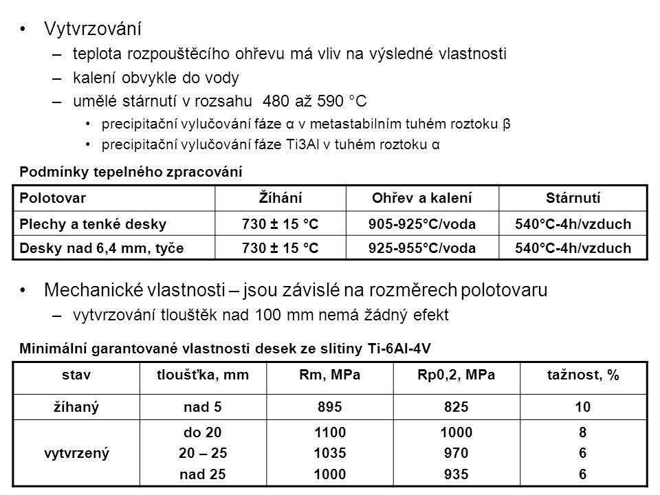 Vytvrzování –teplota rozpouštěcího ohřevu má vliv na výsledné vlastnosti –kalení obvykle do vody –umělé stárnutí v rozsahu 480 až 590 °C precipitační vylučování fáze α v metastabilním tuhém roztoku β precipitační vylučování fáze Ti3Al v tuhém roztoku α Mechanické vlastnosti – jsou závislé na rozměrech polotovaru –vytvrzování tlouštěk nad 100 mm nemá žádný efekt PolotovarŽíháníOhřev a kaleníStárnutí Plechy a tenké desky730 ± 15 °C905-925°C/voda540°C-4h/vzduch Desky nad 6,4 mm, tyče730 ± 15 °C925-955°C/voda540°C-4h/vzduch Podmínky tepelného zpracování stavtloušťka, mmRm, MPaRp0,2, MPatažnost, % žíhanýnad 589582510 vytvrzený do 20 20 – 25 nad 25 1100 1035 1000 970 935 866866 Minimální garantované vlastnosti desek ze slitiny Ti-6Al-4V