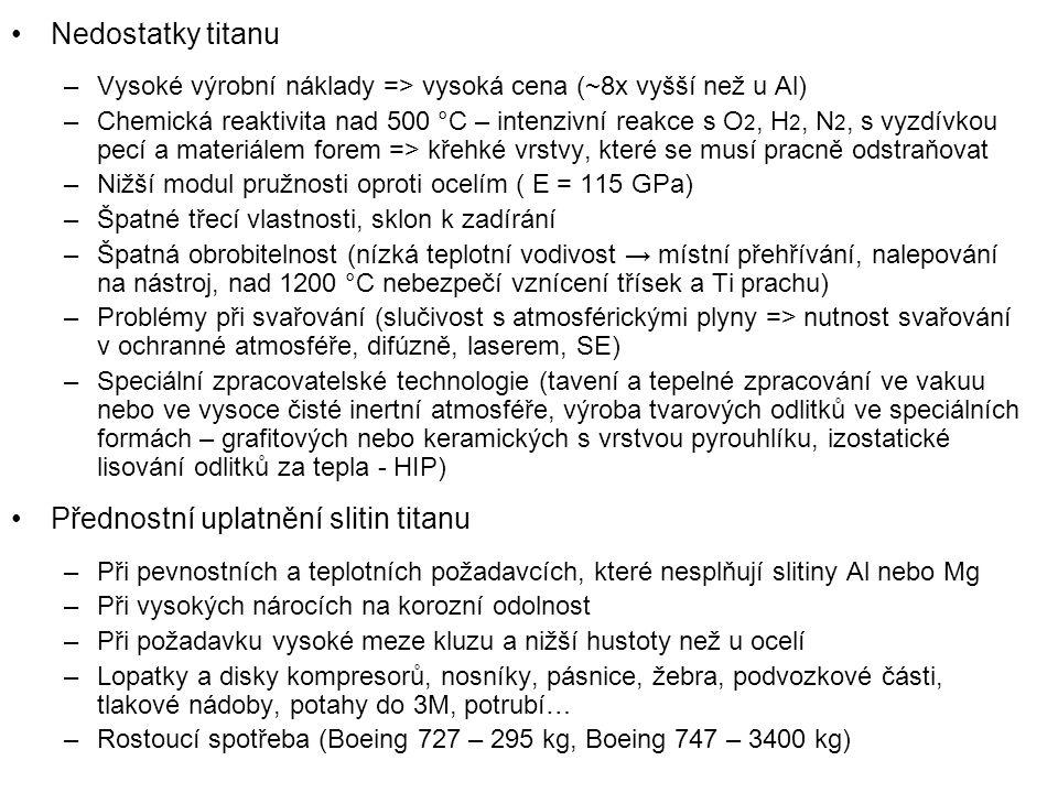 Nedostatky titanu –Vysoké výrobní náklady => vysoká cena (~8x vyšší než u Al) –Chemická reaktivita nad 500 °C – intenzivní reakce s O 2, H 2, N 2, s vyzdívkou pecí a materiálem forem => křehké vrstvy, které se musí pracně odstraňovat –Nižší modul pružnosti oproti ocelím ( E = 115 GPa) –Špatné třecí vlastnosti, sklon k zadírání –Špatná obrobitelnost (nízká teplotní vodivost → místní přehřívání, nalepování na nástroj, nad 1200 °C nebezpečí vznícení třísek a Ti prachu) –Problémy při svařování (slučivost s atmosférickými plyny => nutnost svařování v ochranné atmosféře, difúzně, laserem, SE) –Speciální zpracovatelské technologie (tavení a tepelné zpracování ve vakuu nebo ve vysoce čisté inertní atmosféře, výroba tvarových odlitků ve speciálních formách – grafitových nebo keramických s vrstvou pyrouhlíku, izostatické lisování odlitků za tepla - HIP) Přednostní uplatnění slitin titanu –Při pevnostních a teplotních požadavcích, které nesplňují slitiny Al nebo Mg –Při vysokých nárocích na korozní odolnost –Při požadavku vysoké meze kluzu a nižší hustoty než u ocelí –Lopatky a disky kompresorů, nosníky, pásnice, žebra, podvozkové části, tlakové nádoby, potahy do 3M, potrubí… –Rostoucí spotřeba (Boeing 727 – 295 kg, Boeing 747 – 3400 kg)