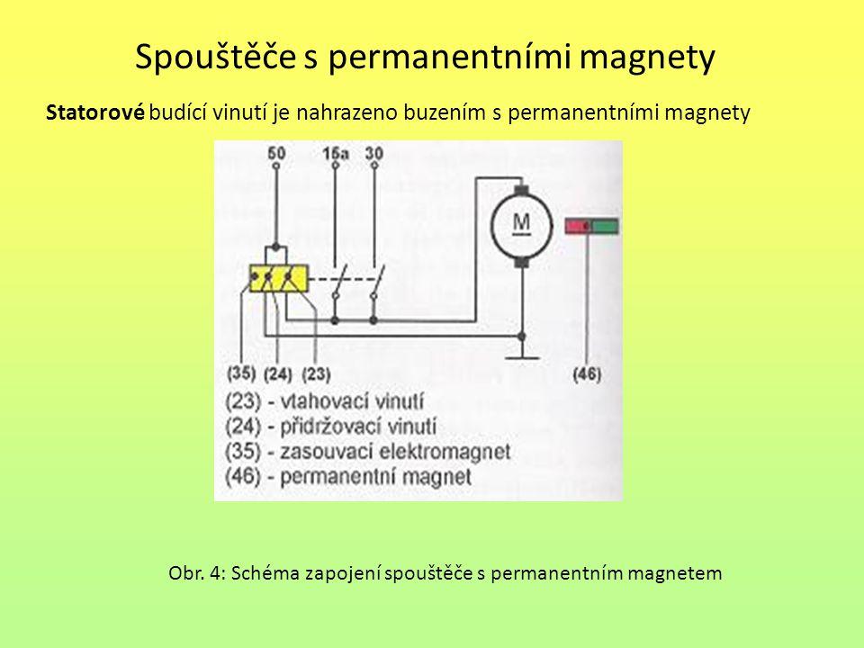 Spouštěče s permanentními magnety Statorové budící vinutí je nahrazeno buzením s permanentními magnety Obr. 4: Schéma zapojení spouštěče s permanentní