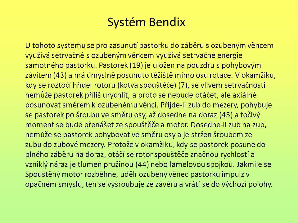 Systém Bendix U tohoto systému se pro zasunutí pastorku do záběru s ozubeným věncem využívá setrvačné s ozubeným věncem využívá setrvačné energie samo