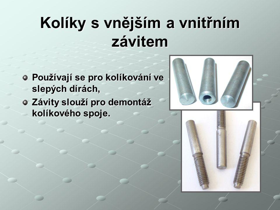 Dimenzování kolíkových spojů Kolík je zatížen příčnou silou smykem.