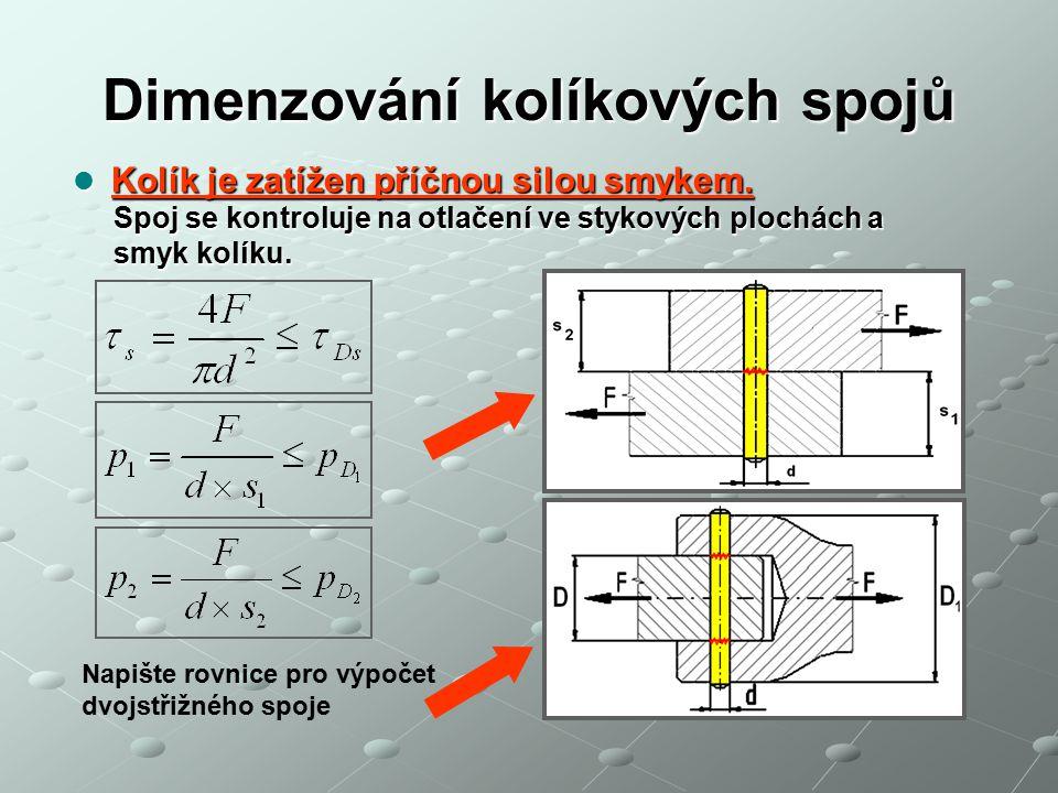 Dimenzování kolíkových spojů Spárový kolík Spárový kolík Spoj se kontroluje na otlačení ve stykových plochách, Spoj se kontroluje na otlačení ve stykových plochách, smykové namáhání kolíku a kroucení hřídele.