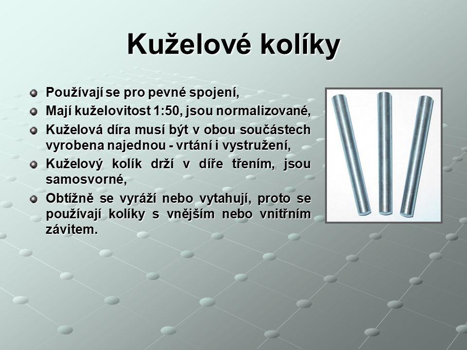 Kuželové kolíky Příklad použití kuželových kolíků jako zajišťovací nebo i spojovací pro přesné i spojovací pro přesné ustavení vzájemné ustavení vzájemné polohy spojovaných polohy spojovaných součástí součástí