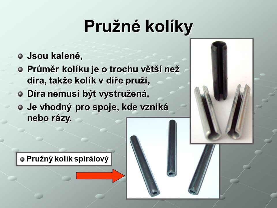 Kolíky s vnějším a vnitřním závitem Používají se pro kolíkování ve slepých dírách, Závity slouží pro demontáž kolíkového spoje.