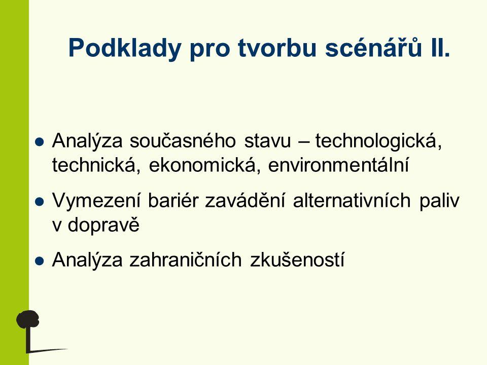 Podklady pro tvorbu scénářů II. Analýza současného stavu – technologická, technická, ekonomická, environmentální Vymezení bariér zavádění alternativní