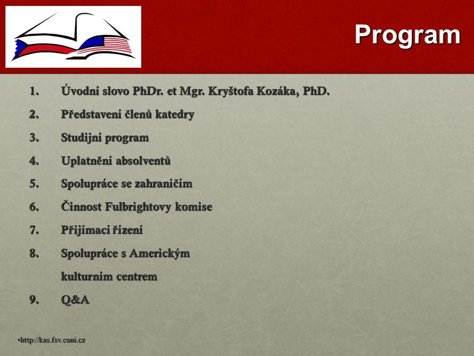 Program 1.Úvodní slovo PhDr.et Mgr. Kryštofa Kozáka, PhD.