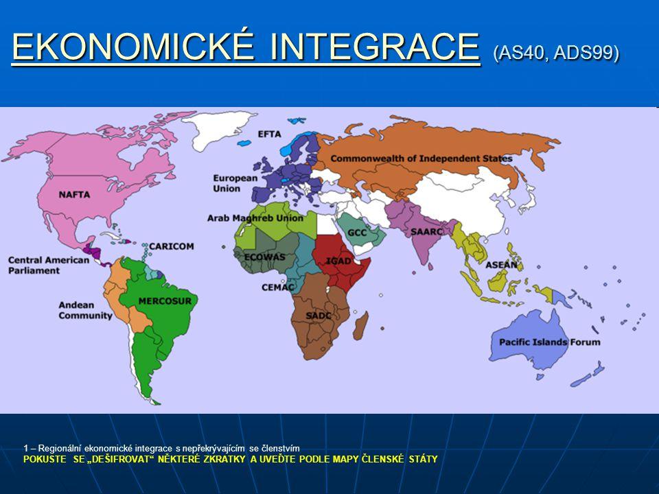 EKONOMICKÉ INTEGRACEEKONOMICKÉ INTEGRACE (AS40, ADS99) EKONOMICKÉ INTEGRACE 1 – Regionální ekonomické integrace s nepřekrývajícím se členstvím POKUSTE