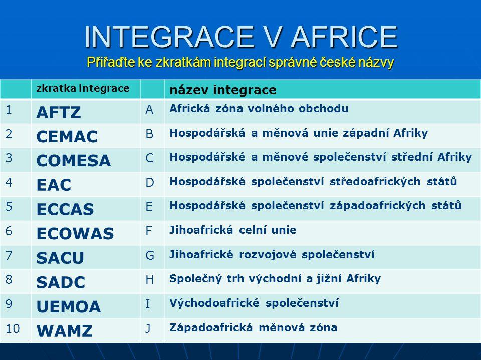 INTEGRACE V AFRICE Přiřaďte ke zkratkám integrací správné české názvy zkratka integrace název integrace 1 AFTZ A Africká zóna volného obchodu 2 CEMAC