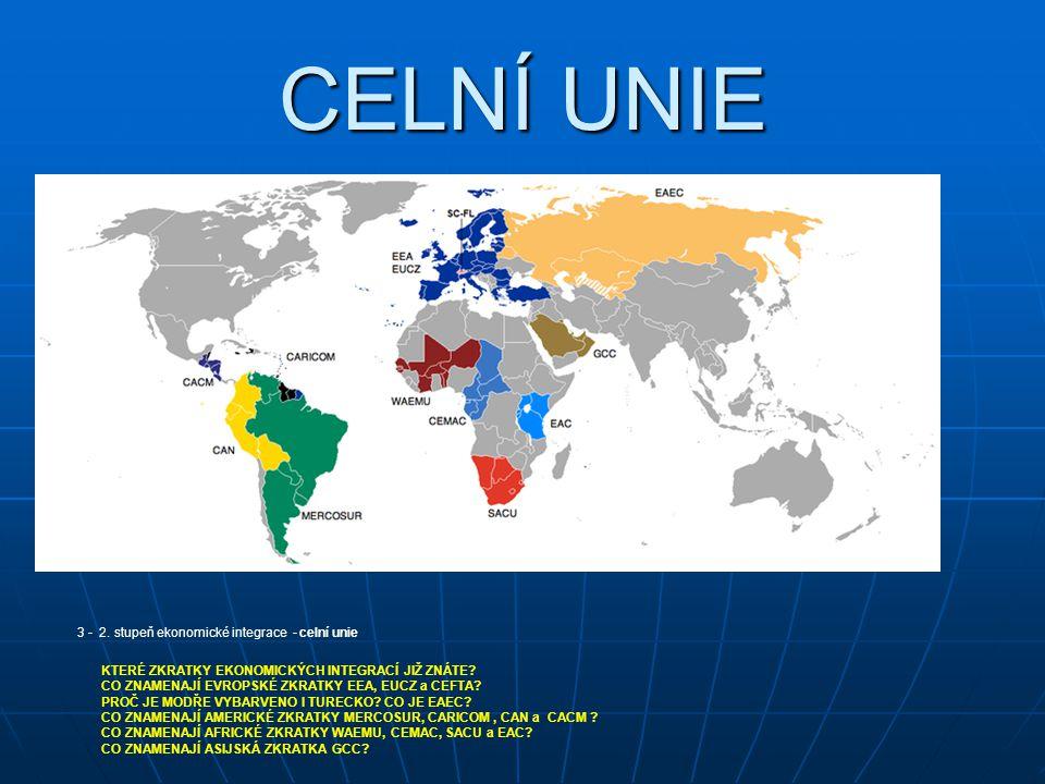 CELNÍ UNIE 3 - 2. stupeň ekonomické integrace - celní unie KTERÉ ZKRATKY EKONOMICKÝCH INTEGRACÍ JIŽ ZNÁTE? CO ZNAMENAJÍ EVROPSKÉ ZKRATKY EEA, EUCZ a C