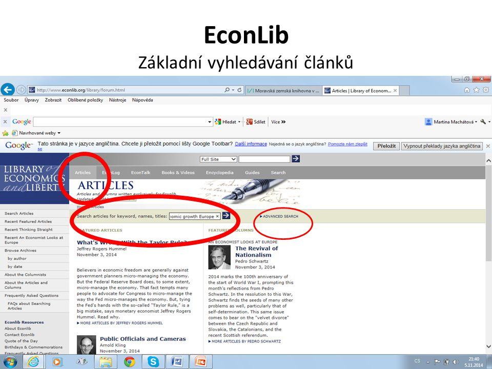 EconLib Základní vyhledávání článků