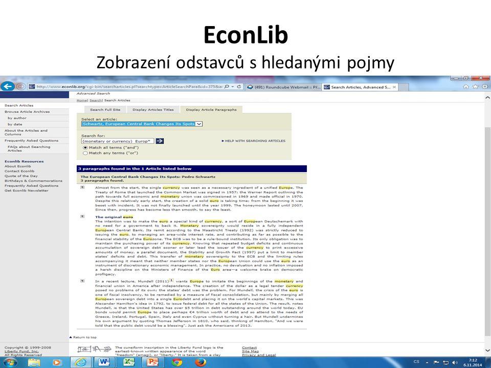 EconLib Zobrazení odstavců s hledanými pojmy