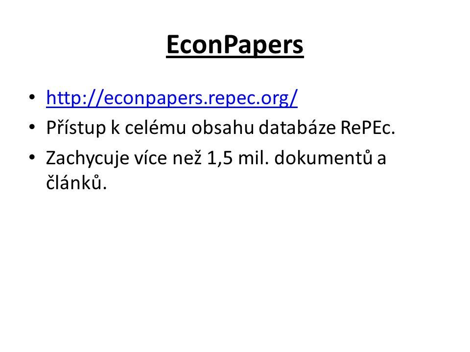 EconPapers http://econpapers.repec.org/ Přístup k celému obsahu databáze RePEc. Zachycuje více než 1,5 mil. dokumentů a článků.