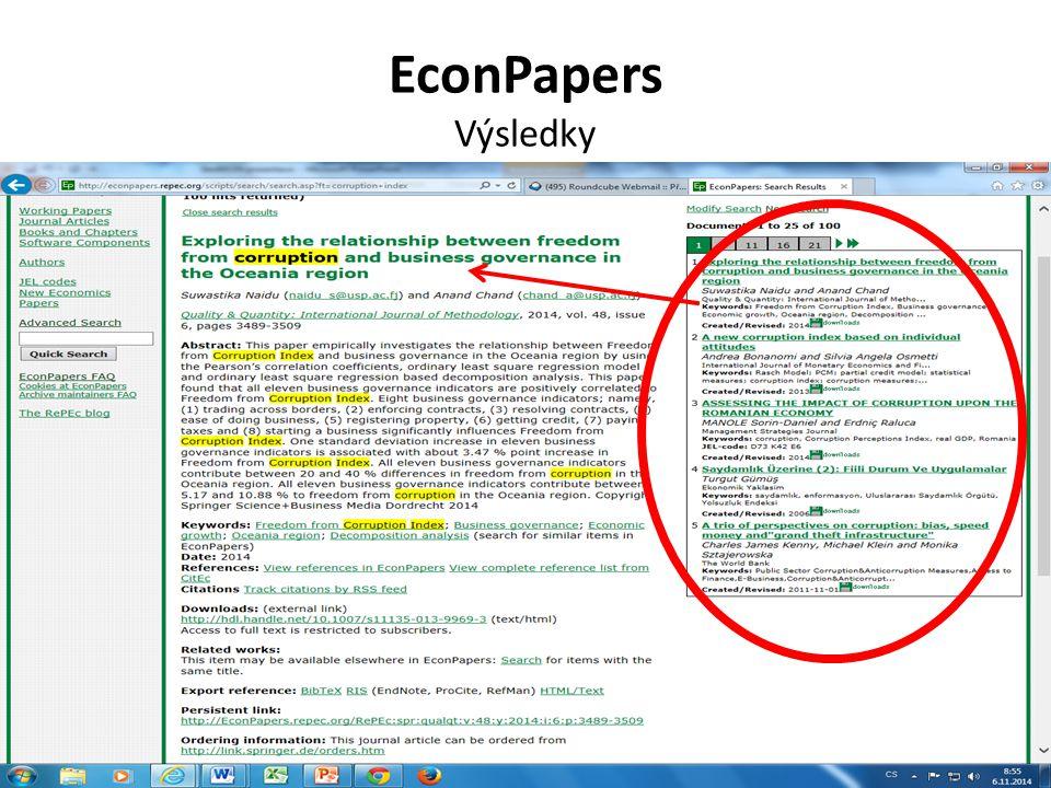 EconPapers Výsledky