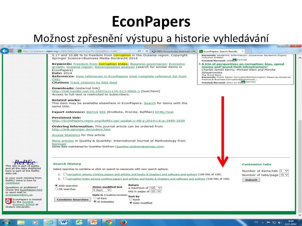 EconPapers Možnost zpřesnění výstupu a historie vyhledávání