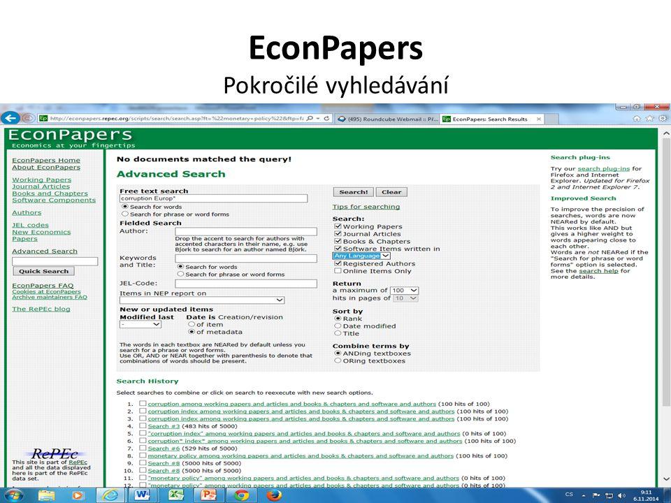 EconPapers Pokročilé vyhledávání