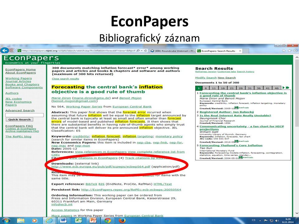 EconPapers Bibliografický záznam
