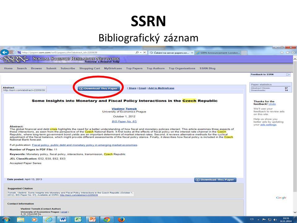 SSRN Bibliografický záznam