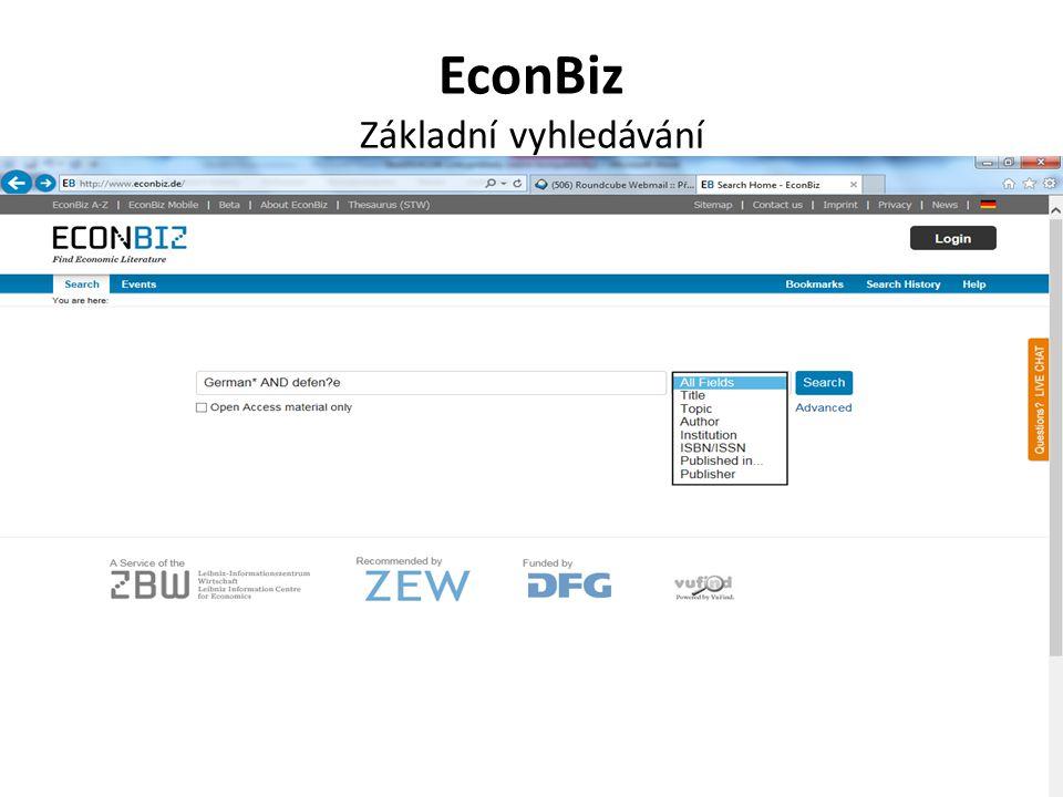 EconBiz Základní vyhledávání