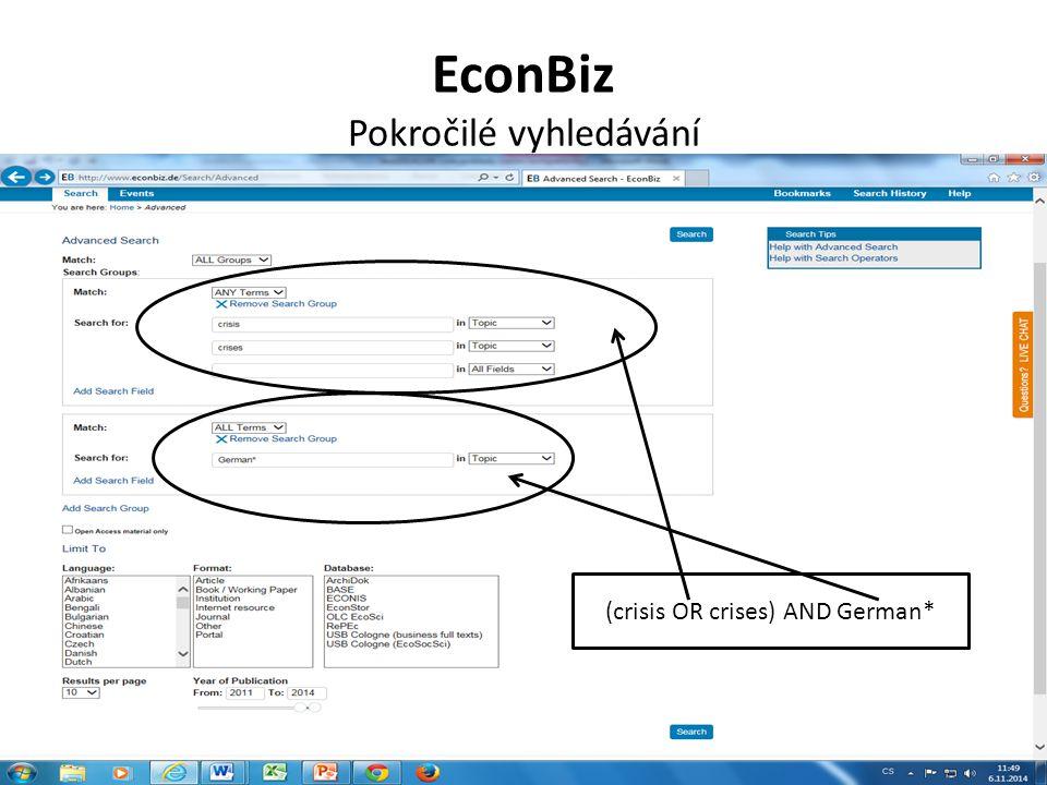 EconBiz Pokročilé vyhledávání (crisis OR crises) AND German*