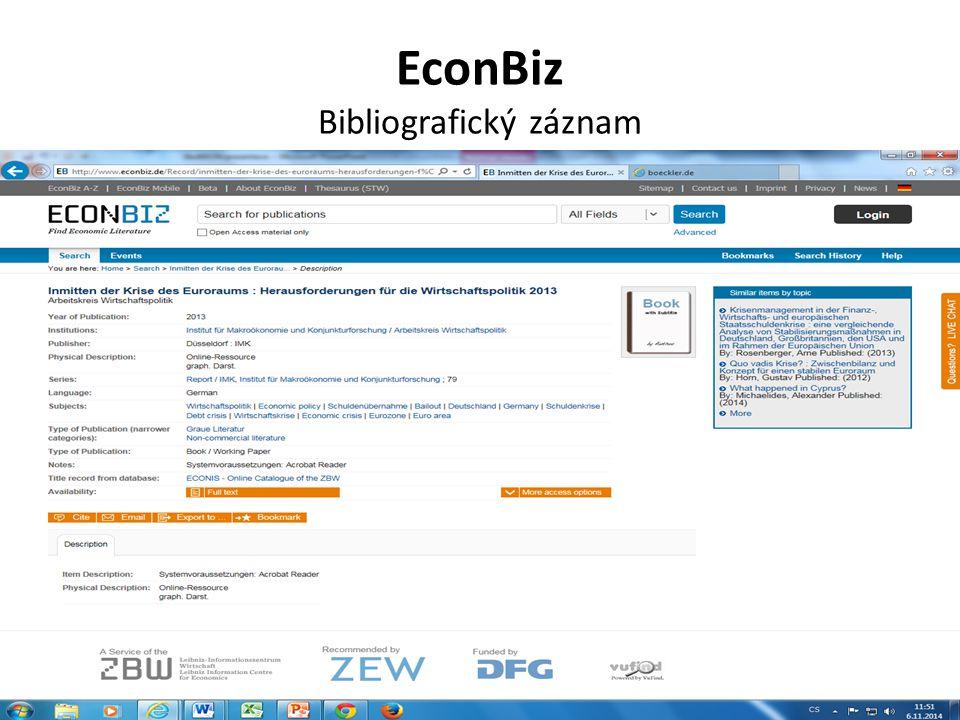 EconBiz Bibliografický záznam