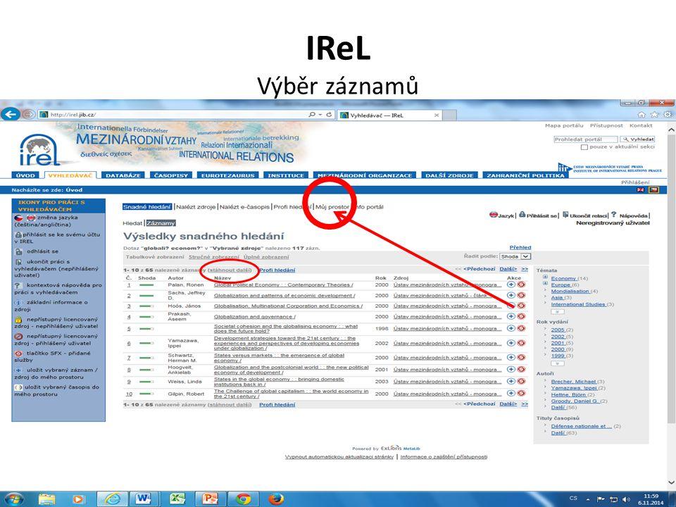IReL Výběr záznamů