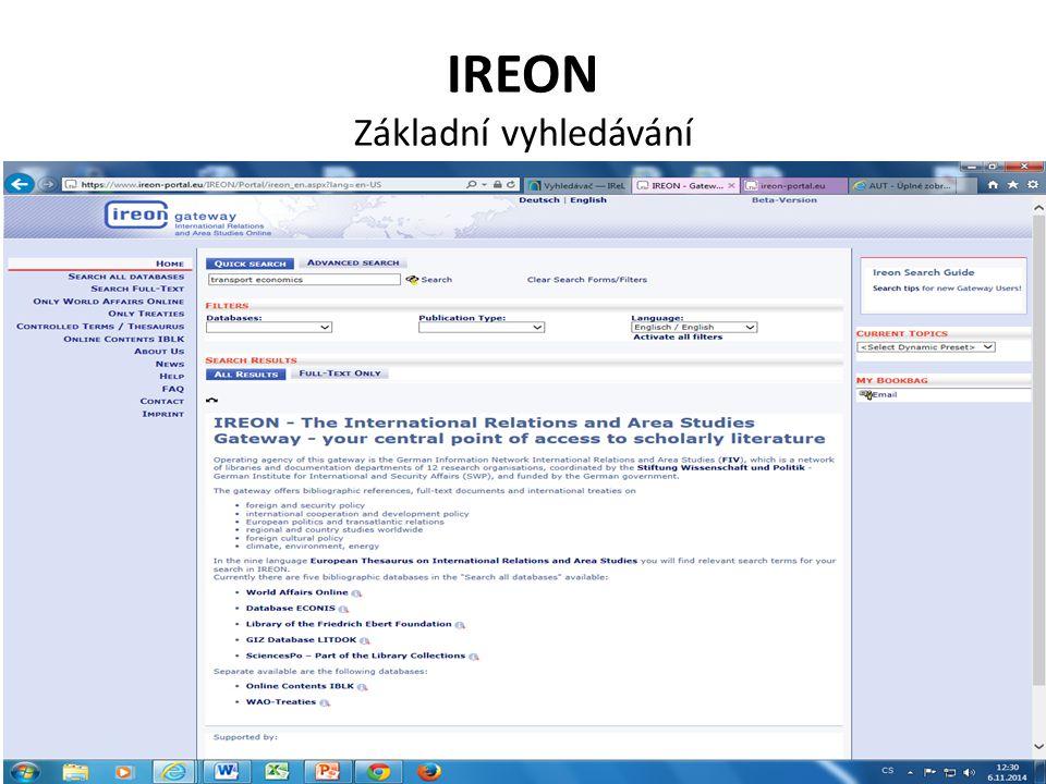 IREON Základní vyhledávání