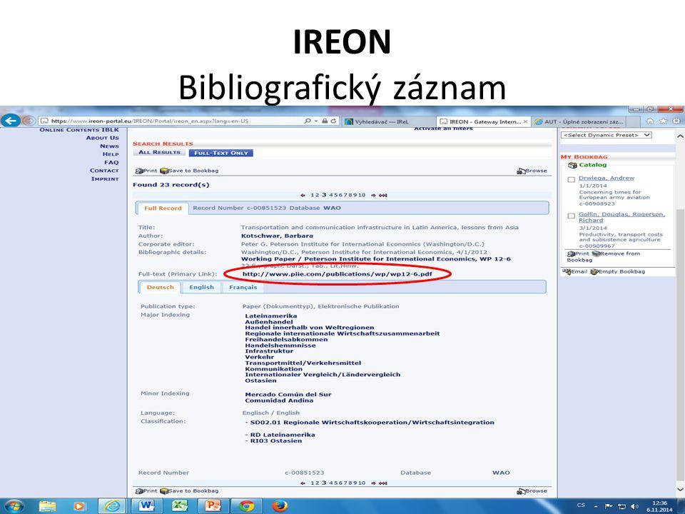 IREON Bibliografický záznam