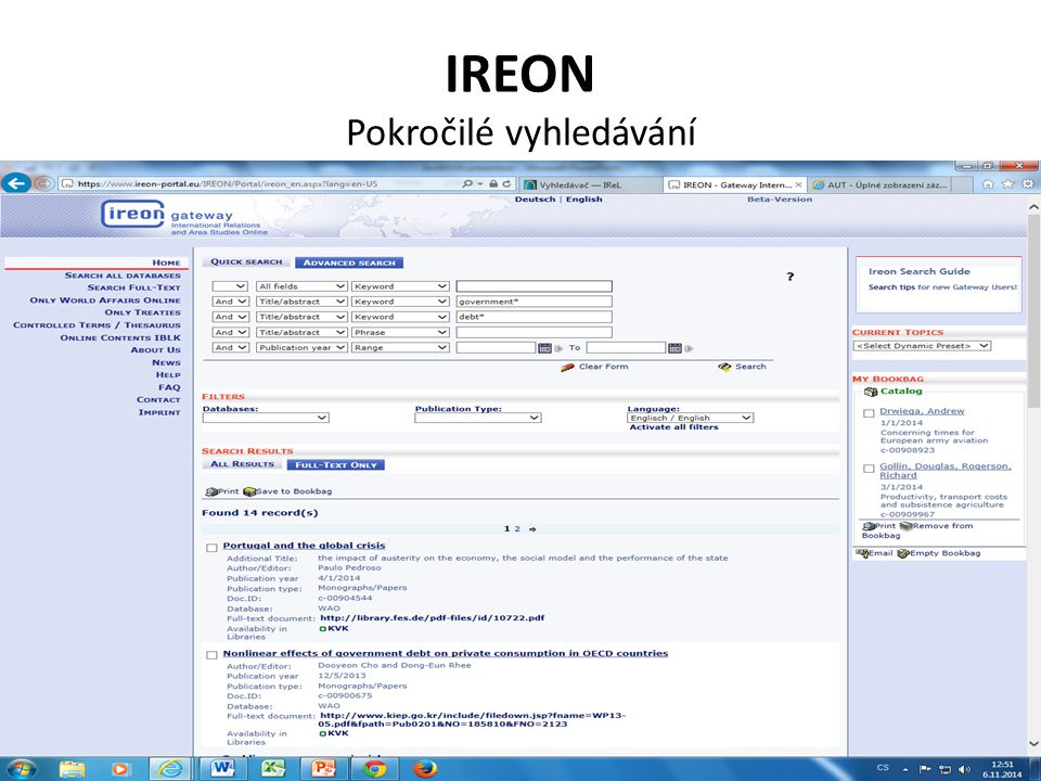 IREON Pokročilé vyhledávání