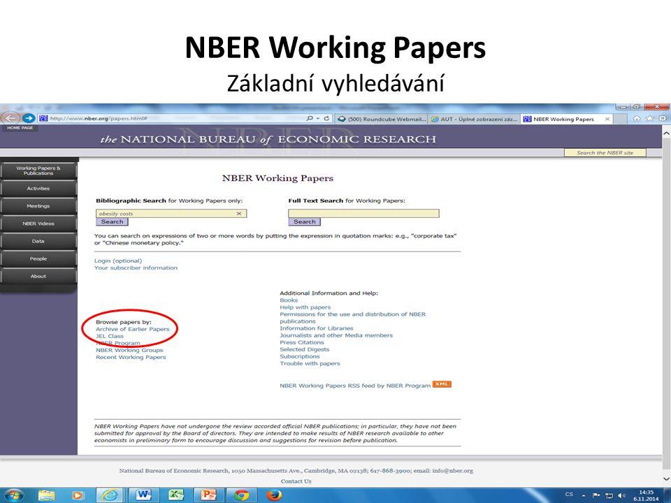 NBER Working Papers Základní vyhledávání