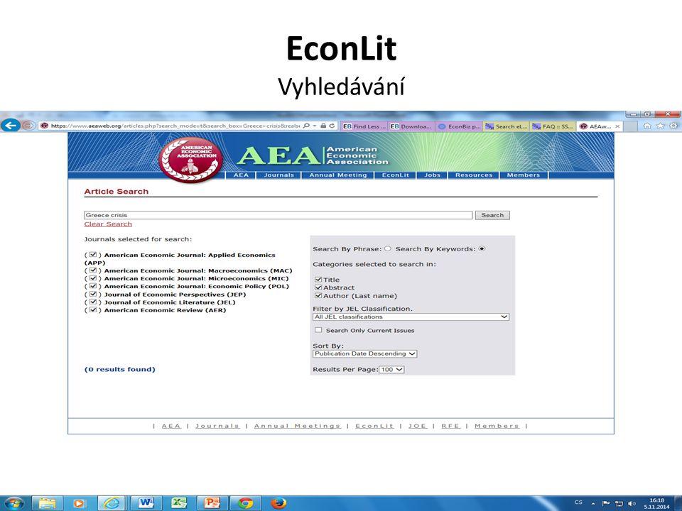 Economics Search Engine Vyhledávání