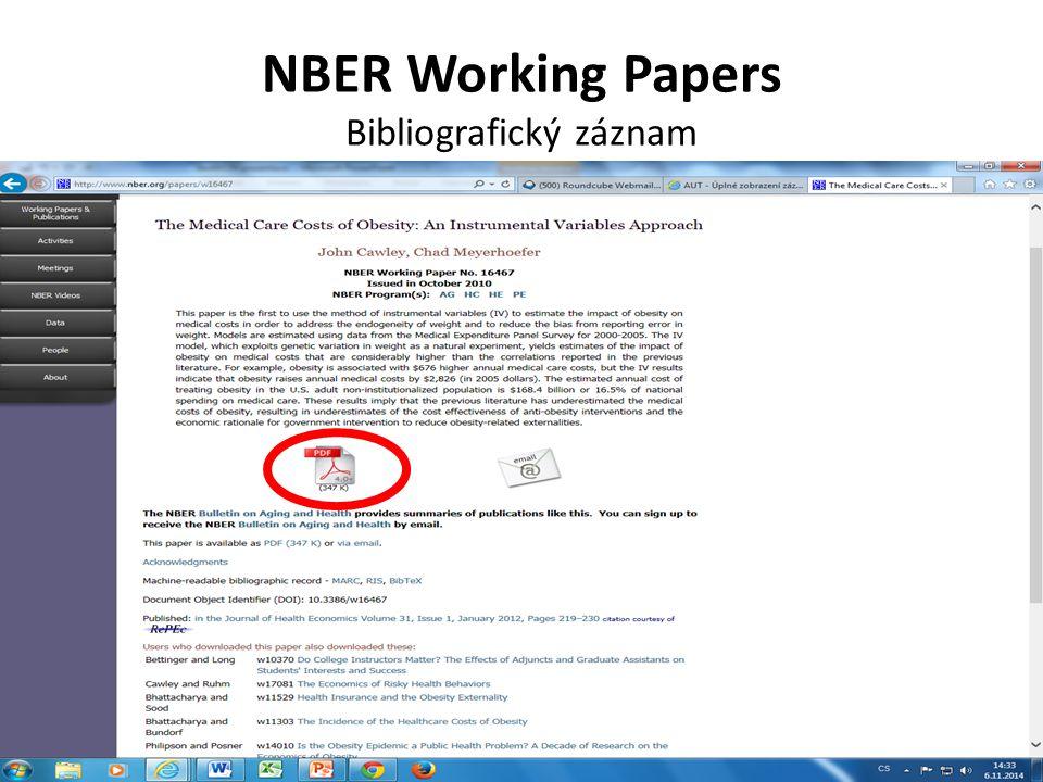 NBER Working Papers Bibliografický záznam