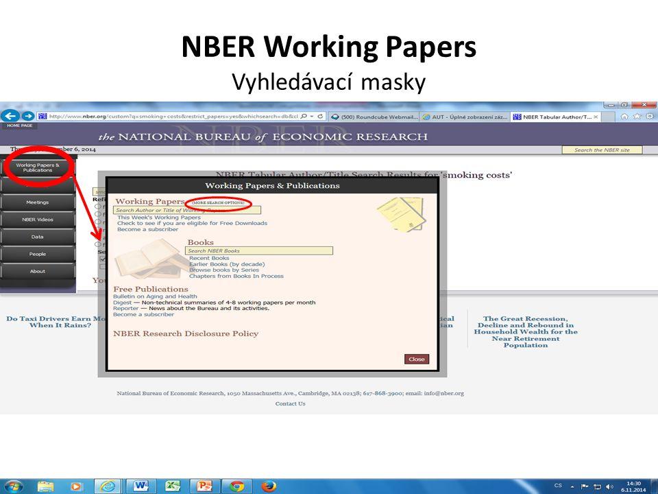 NBER Working Papers Vyhledávací masky