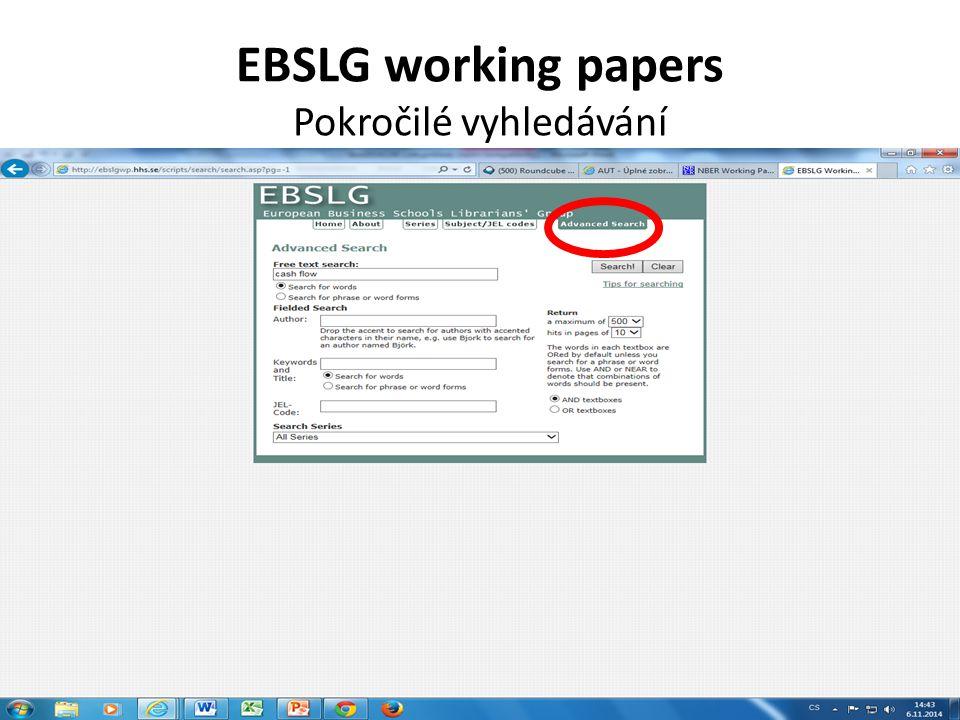 EBSLG working papers Pokročilé vyhledávání