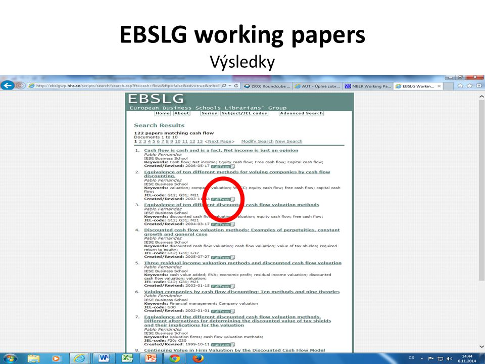 EBSLG working papers Výsledky