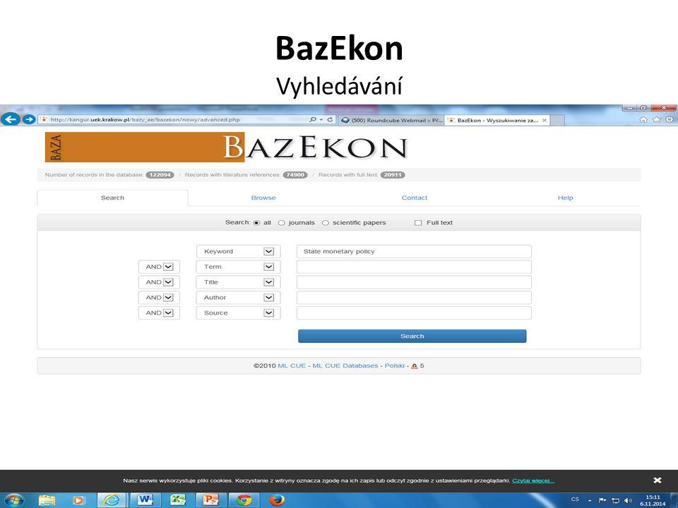 BazEkon Vyhledávání