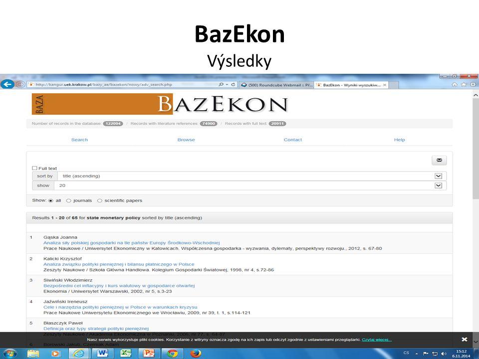 BazEkon Výsledky
