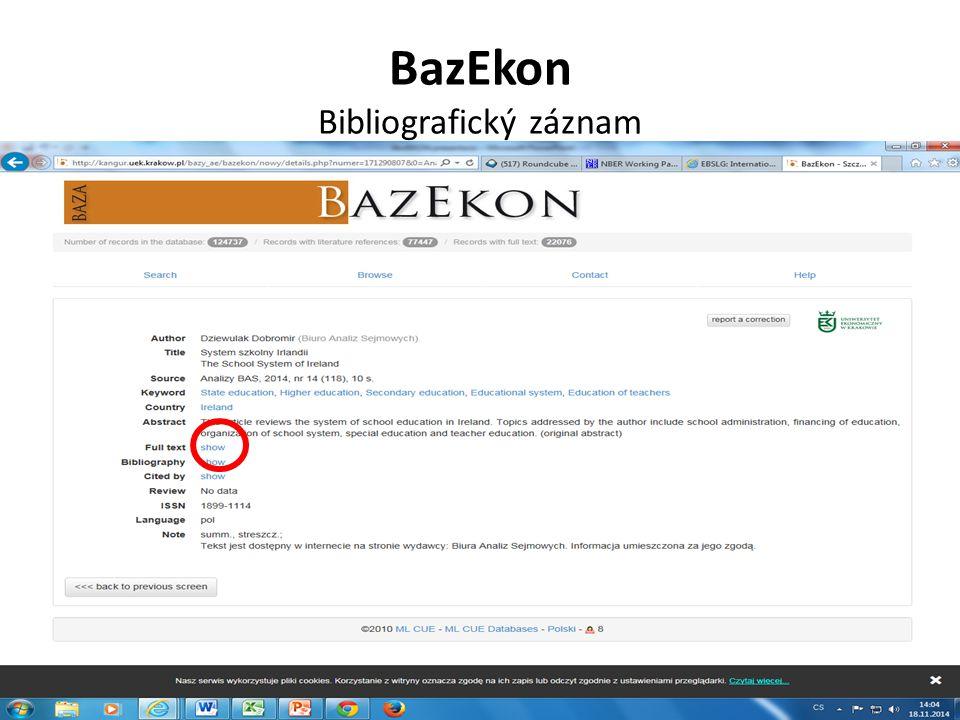 BazEkon Bibliografický záznam