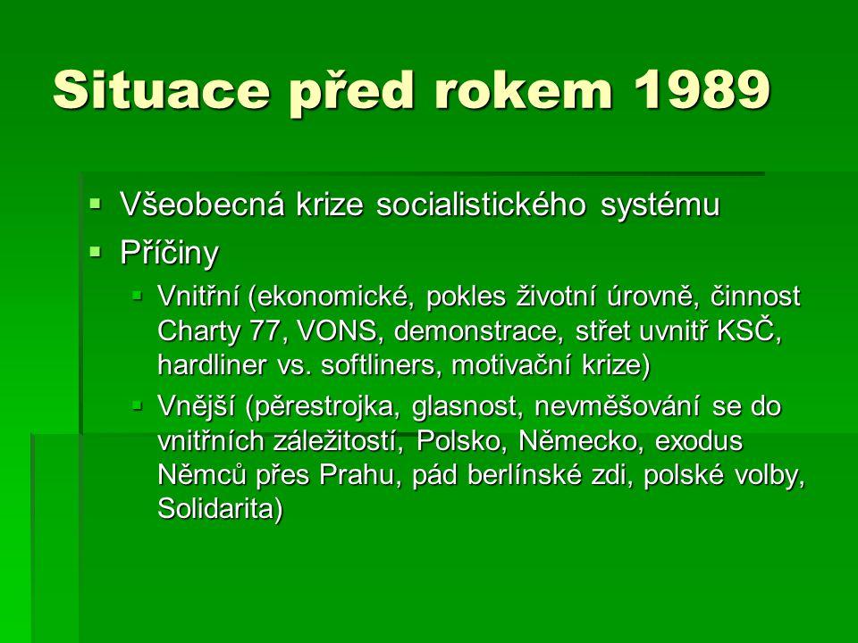 Situace před rokem 1989  Všeobecná krize socialistického systému  Příčiny  Vnitřní (ekonomické, pokles životní úrovně, činnost Charty 77, VONS, demonstrace, střet uvnitř KSČ, hardliner vs.