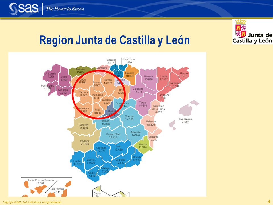 Copyright © 2003, SAS Institute Inc. All rights reserved. 4 Region Junta de Castilla y León