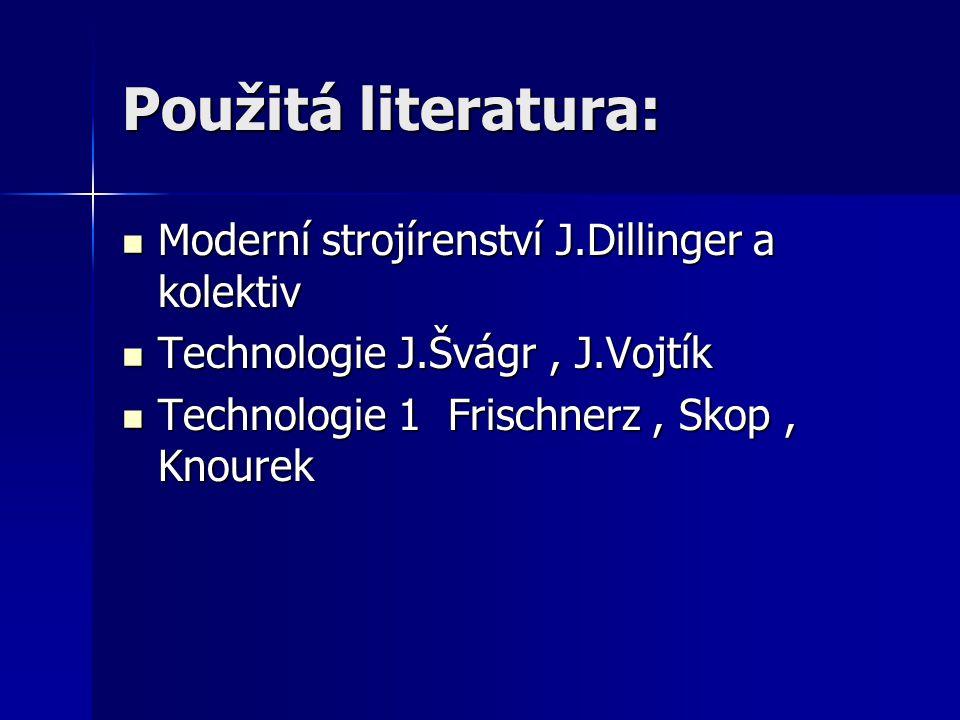 Použitá literatura: Moderní strojírenství J.Dillinger a kolektiv Moderní strojírenství J.Dillinger a kolektiv Technologie J.Švágr, J.Vojtík Technologi