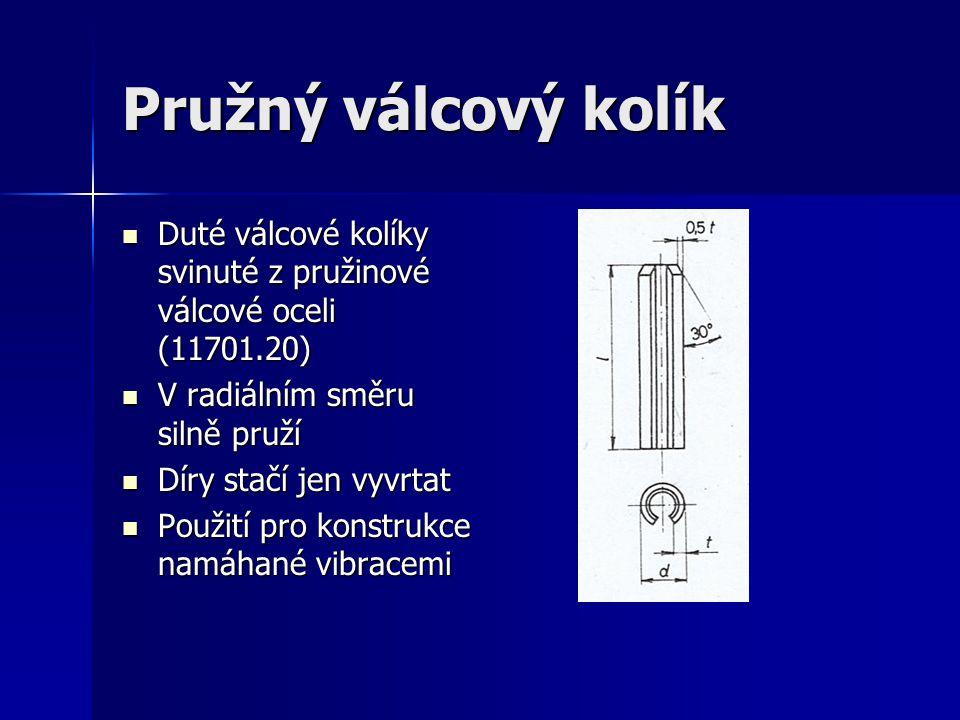Pružný válcový kolík Duté válcové kolíky svinuté z pružinové válcové oceli (11701.20) Duté válcové kolíky svinuté z pružinové válcové oceli (11701.20) V radiálním směru silně pruží V radiálním směru silně pruží Díry stačí jen vyvrtat Díry stačí jen vyvrtat Použití pro konstrukce namáhané vibracemi Použití pro konstrukce namáhané vibracemi