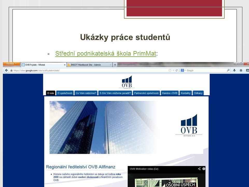 Ukázky práce studentů -Střední podnikatelská škola PrimMat:Střední podnikatelská škola PrimMat