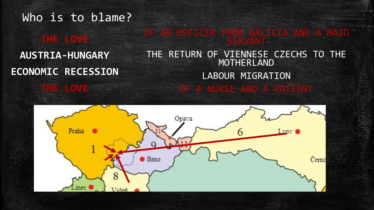 Who is to blame? THE LOVEAUSTRIA-HUNGARY ECONOMIC RECESSION THE LOVE OF AN OFFICER FROM GALICIA AND A MAID SERVANT THE RETURN OF VIENNESE CZECHS TO TH