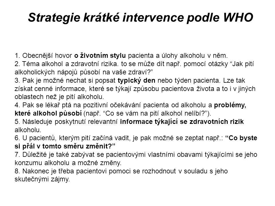 Strategie krátké intervence podle WHO 1. Obecnější hovor o životním stylu pacienta a úlohy alkoholu v něm. 2. Téma alkohol a zdravotní rizika. to se m