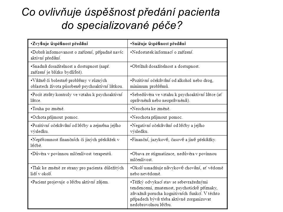 Co ovlivňuje úspěšnost předání pacienta do specializované péče? Zvy š uje ú spě š nost před á n í Snižuje ú spě š nost před á n í Dobr á informovanost