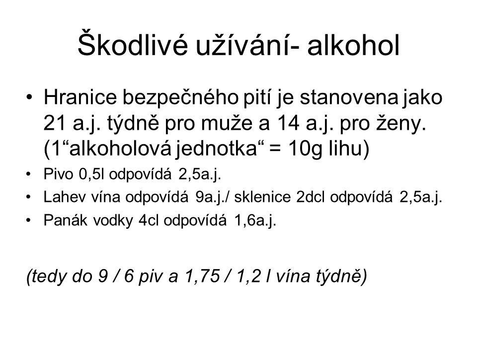 """Škodlivé užívání- alkohol Hranice bezpečného pití je stanovena jako 21 a.j. týdně pro muže a 14 a.j. pro ženy. (1""""alkoholová jednotka"""" = 10g lihu) Piv"""
